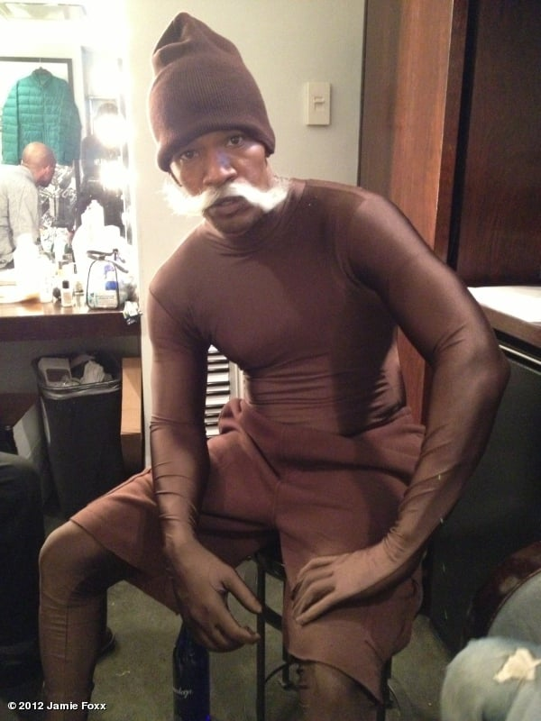 Jamie Foxx was dressed as a Ding Dong for a Saturday Night Live sketch. Source: Twitter user jamiefoxx