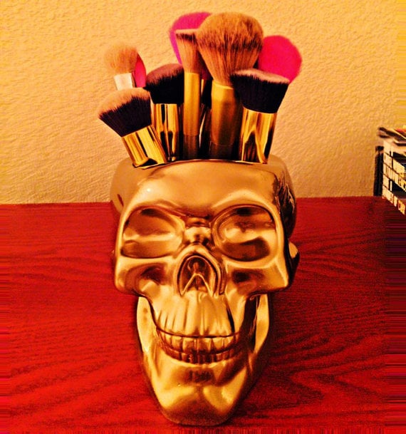 Ashley Ramirez Designs Skull Makeup Brush Holder ($65)