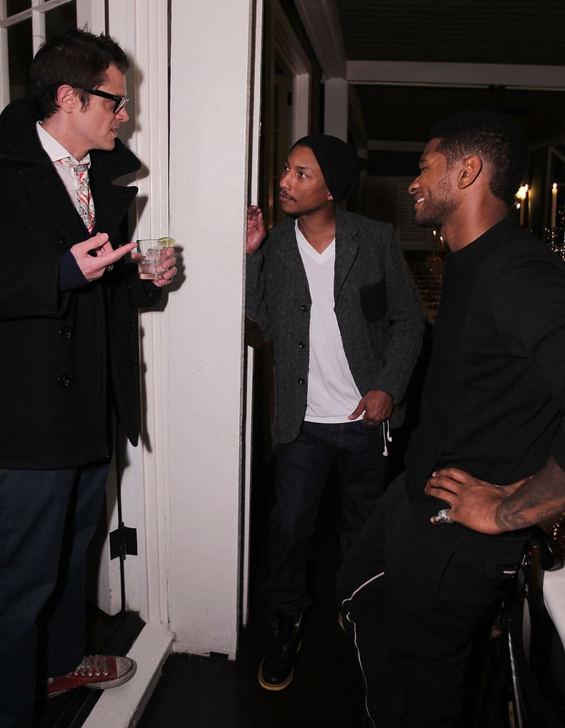 Johnny Knoxville, Usher, and Pharrell Williams hung out at the Chateau Marmont.