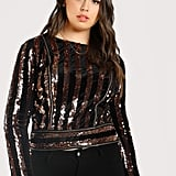 Shein Sequin Striped Zip Up Top