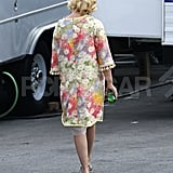 January Jones walked to her trailer on the set of Mad Men.