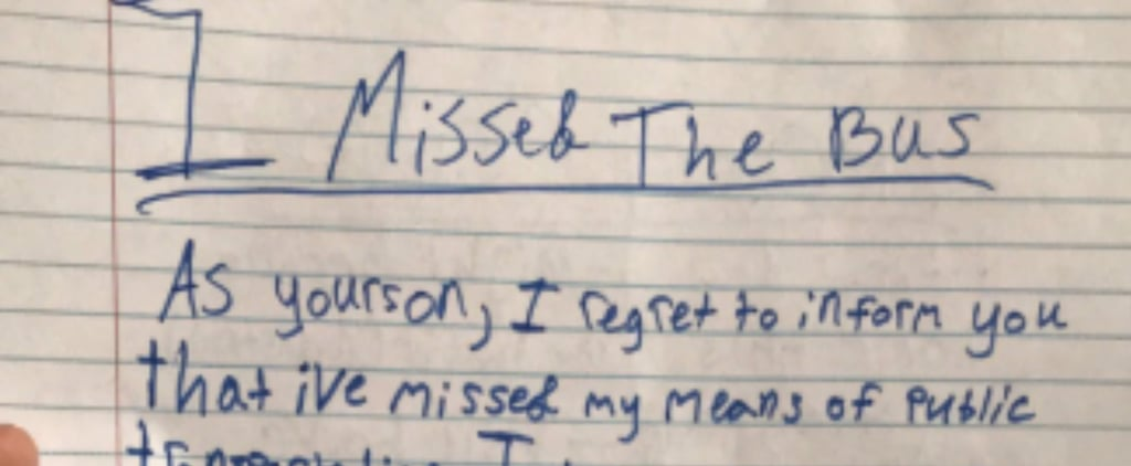Boy Wrote Mom a Note After Missing the Bus