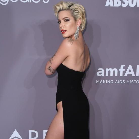 Halsey Black Slitted Dress at amfAR Gala 2018