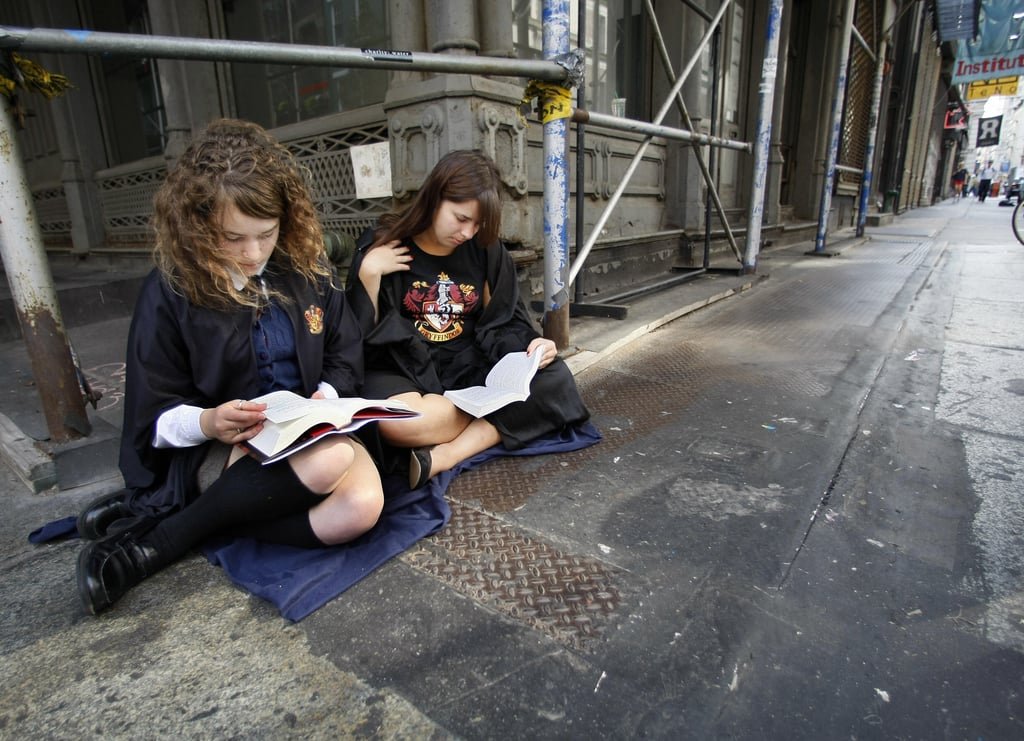 When These Potterheads Snuck in a Quick Read Before Getting Their Books Signed