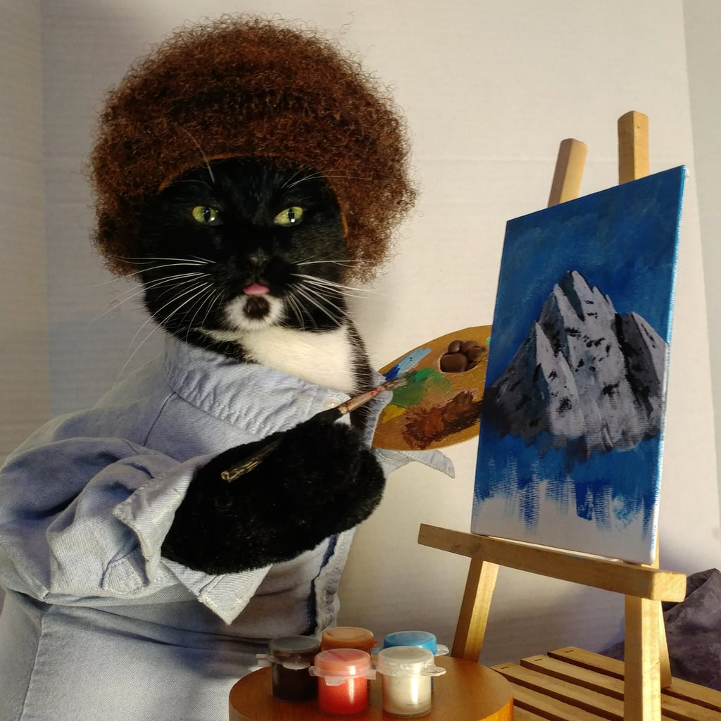 Cat Cosplaying as Bob Ross