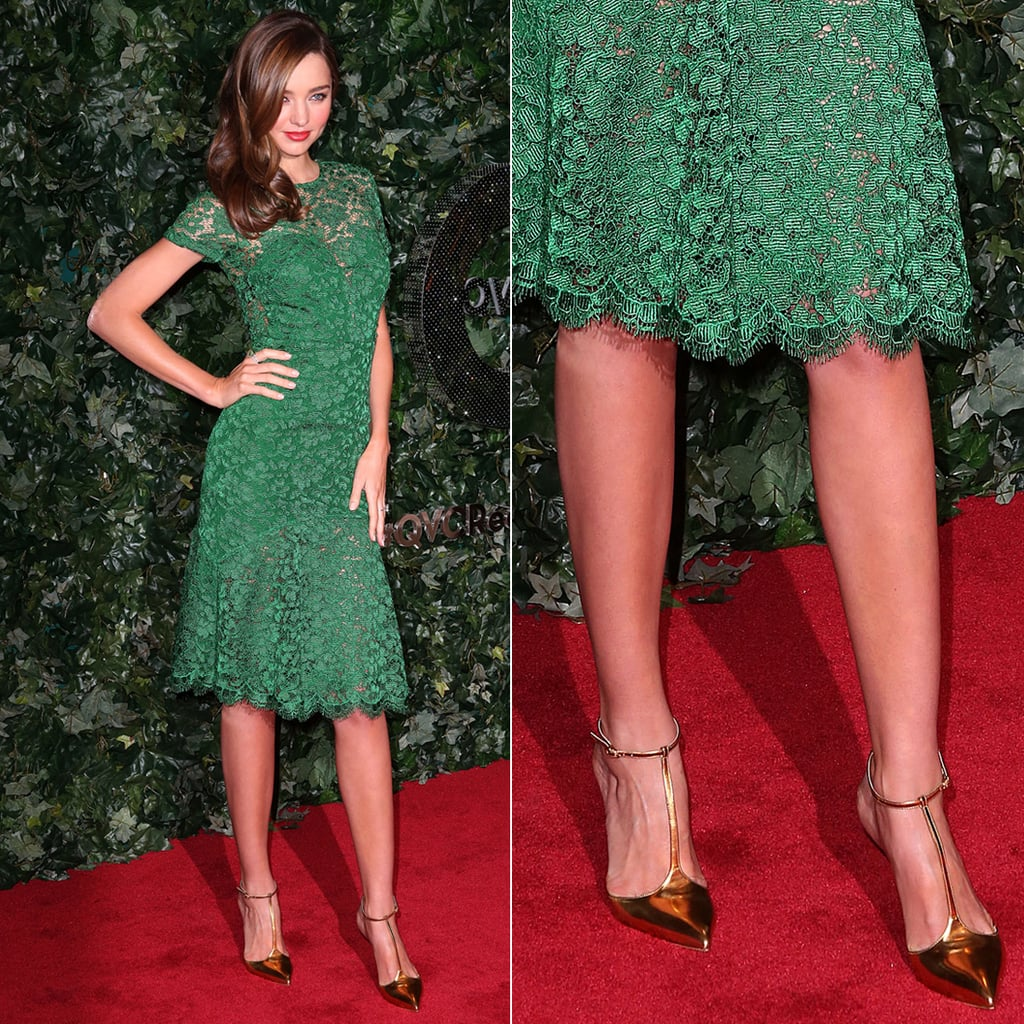 Miranda Kerr's green lace Burberry dress was complete with