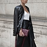 Style a leather-on-leather look with a burgundy Bottega bag.