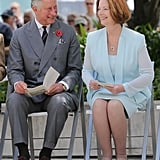 Prince Charles and Julia Gillard had a laugh when they attended the naming of Queen Elizabeth Terrace at Parkes Place on November 10, 2012 in Canberra.