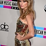 Taylor Swift shimmered in gold.