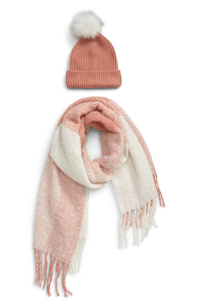BP. Faux Fur Pom Beanie & Plaid Scarf Set