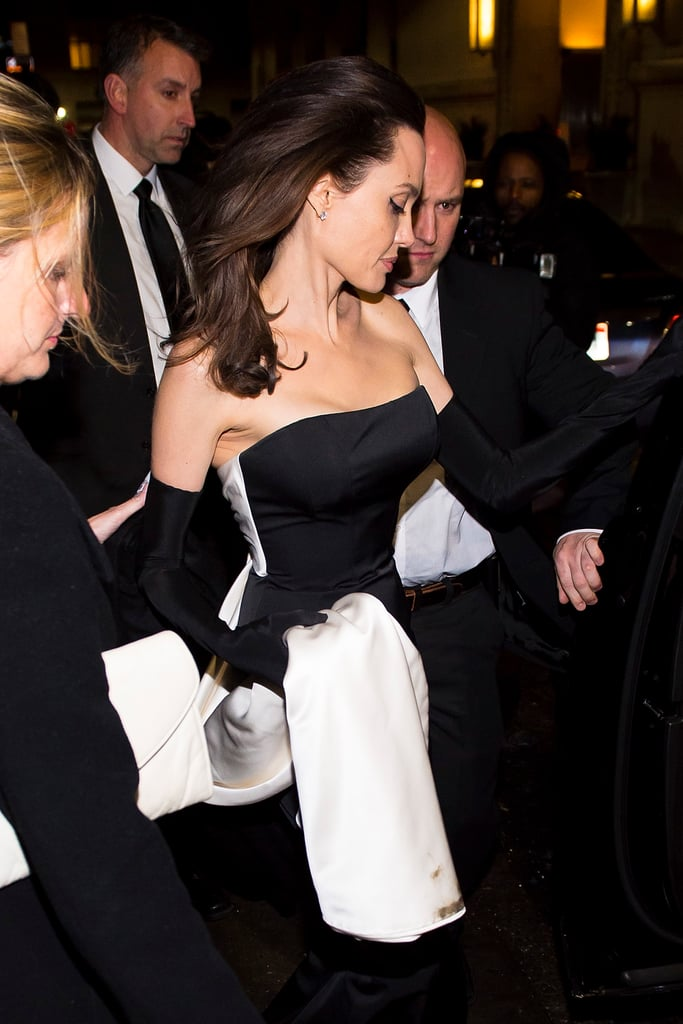 Angelina Jolie Black Dress With Gloves Popsugar Fashion Photo 2
