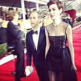 An almost full-length look at Anne Hathaway's stunning Giambattista Valli Couture gown. Source: Instagram user sagawards