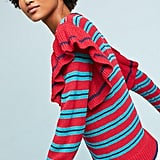 Harlyn Striped Ruffle-Sleeve Pullover