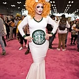 A java-loving guest got creative with her look for DragCon, with a coffee-cup headpiece.