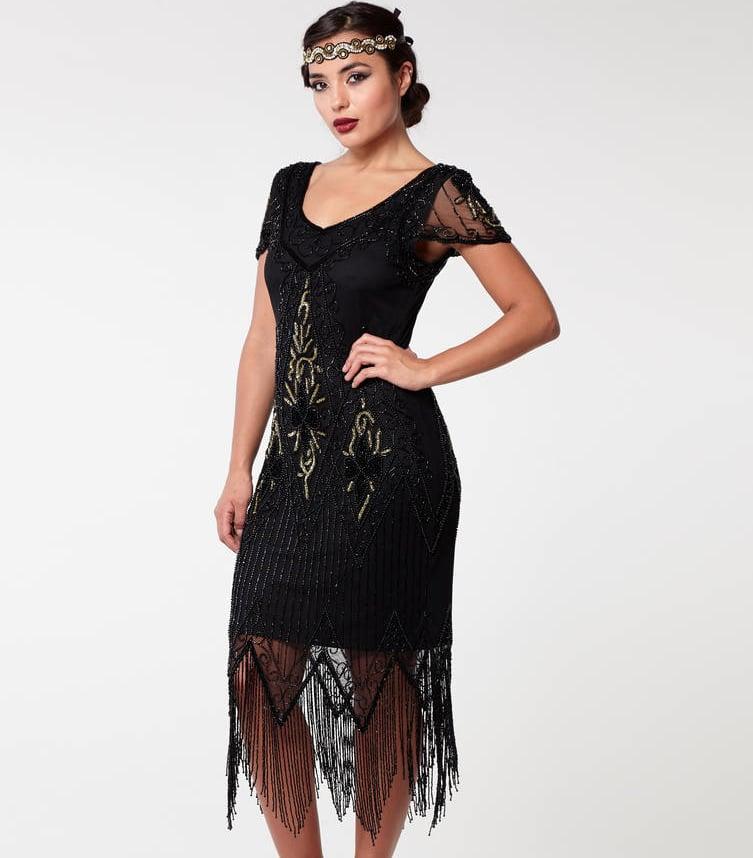 Annette Fringe Flapper Dress In Black Gold