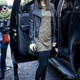 Victoria Justice exited her ride looking low-key glam in a leopard-print shift and a leather jacket.