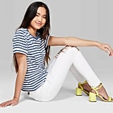 Women's Striped Short Sleeve Crewneck Ringer Boxy T-Shirt