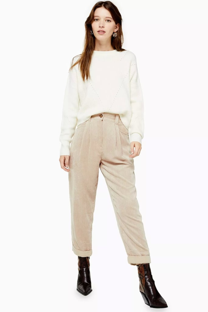 Topshop Stone Casual Corduroy Tapered Trousers