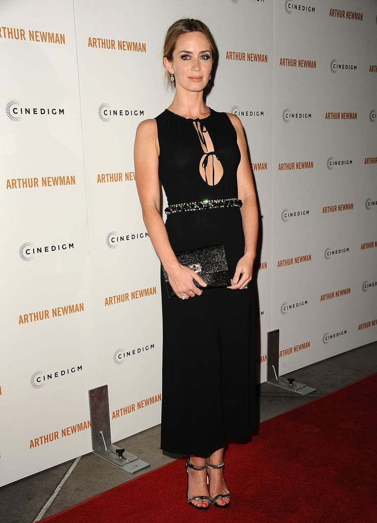 Emily Blunt's black Miu Miu gown was anything but basic; in fact, it was showstopping. Complete with a cutout, keyhole neckline and accessorized with a shimmering belt, clutch, and Vince Camuto signature VC heels, it's not hard to see why she tops the list this week.