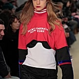 "Public School Creative Directors Dao-Yi Chow and Maxwell Osborne poked fun at Donald Trump's campaign with hats and tees that read ""Make America New York"" and ""We Need Leaders."" Models walked down the runway to the song ""This Land Is Your Land."""