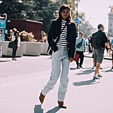 "Loose-fitting jeans and cowboy boots give a striped top a ""right now"" feel."