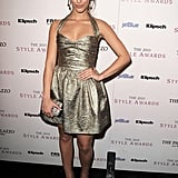 Jessica Lowndes made an entrance in a halter-style, metallic Monique Lhuillier mini.