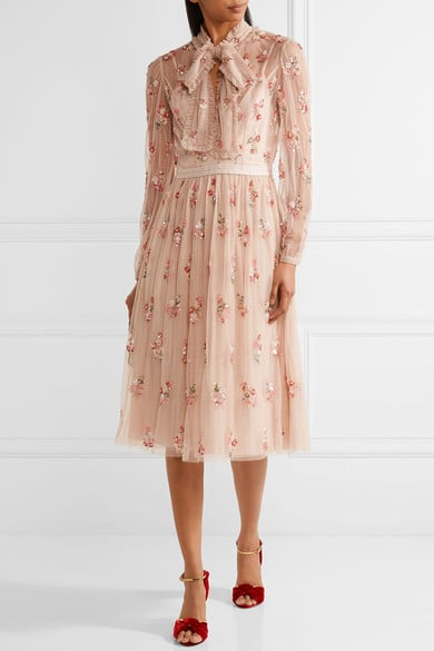 Needle and Thread Ditsy Pussy-Bow Embellished Tulle Dress, $461