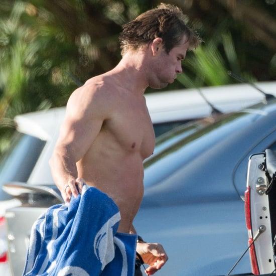 Chris Hemsworth Shirtless After Surfing