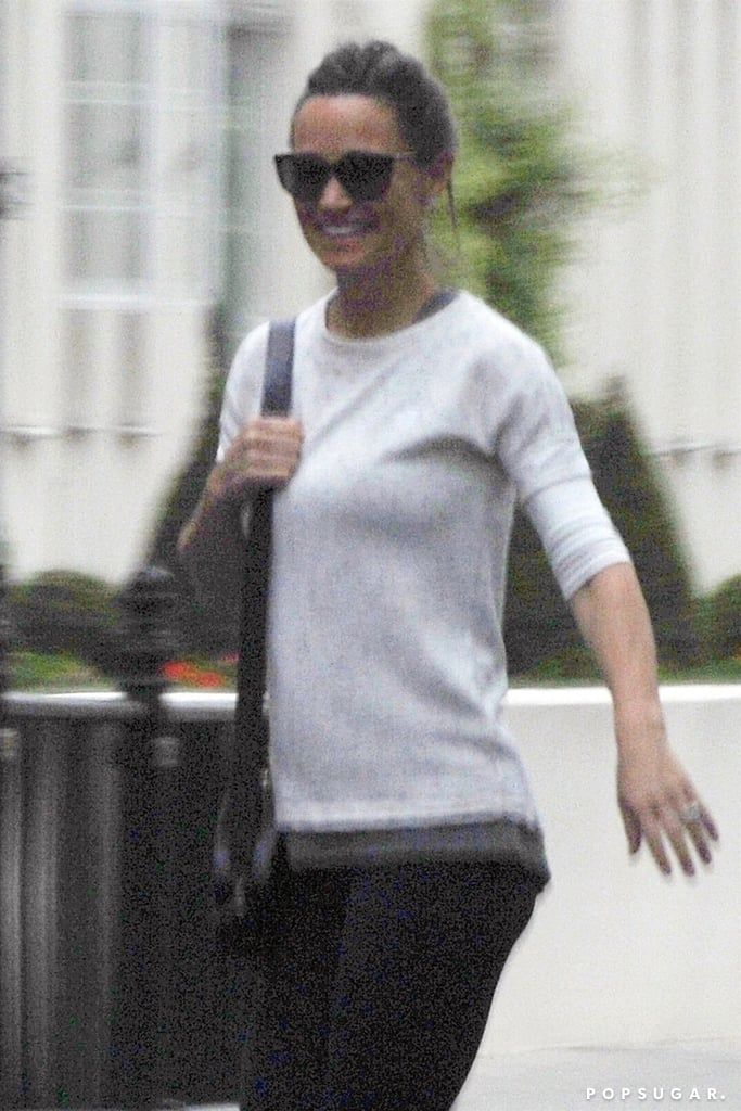 Pippa Middleton was all smiles as she walked through London on Friday. The 34-year-old — who is expecting her first child with husband James Matthews — gave a glimpse of her growing belly in gym gear. Pippa's exciting news broke just days before her older sister, Kate Middleton, gave birth to her third child; shortly after Prince Louis was born, Pippa was seen heading to Kensington Palace to visit her newest nephew. While Pippa has yet to confirm her pregnancy news, she did have quite the glow when she attended Prince Harry and Meghan Markle's royal wedding last weekend. Keep reading to see Pippa (and her bump)!      Related:                                                                                                           17 Reasons Pippa Middleton's Maternity Style Is Going to Be as Good as You Imagine