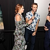 With Lily James and Douglas Booth