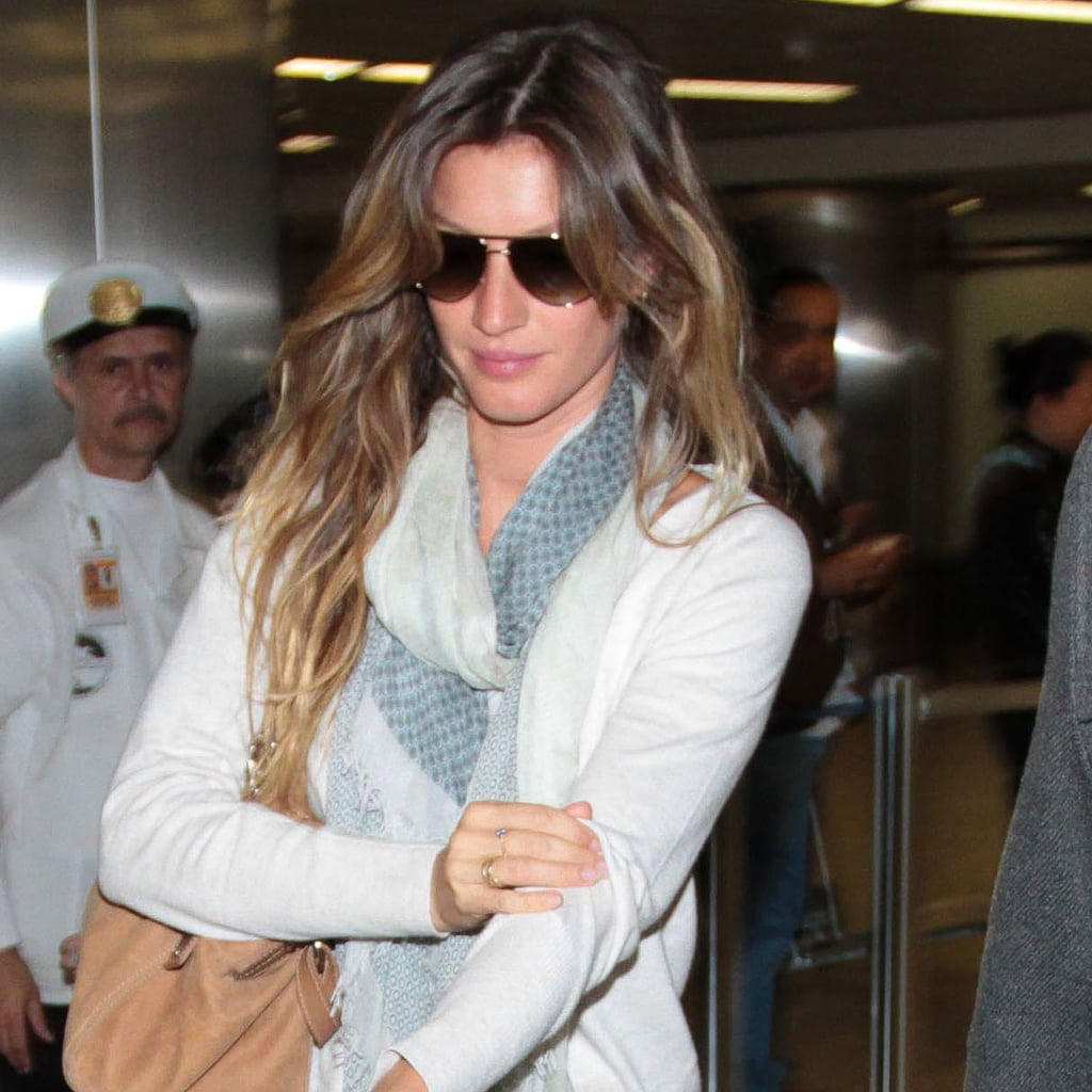 Gisele Bundchen wore aviator sunglasses.