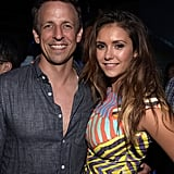 On Friday, Seth Meyers had a big smile next to Nina Dobrev at Playboy and A&E's Bates Motel event.