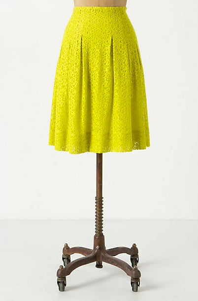 Everyone needs at least one statement skirt in their closet. Bright neon color makes this skirt undeniably eye-catching. Tart Citron Skirt ($88)