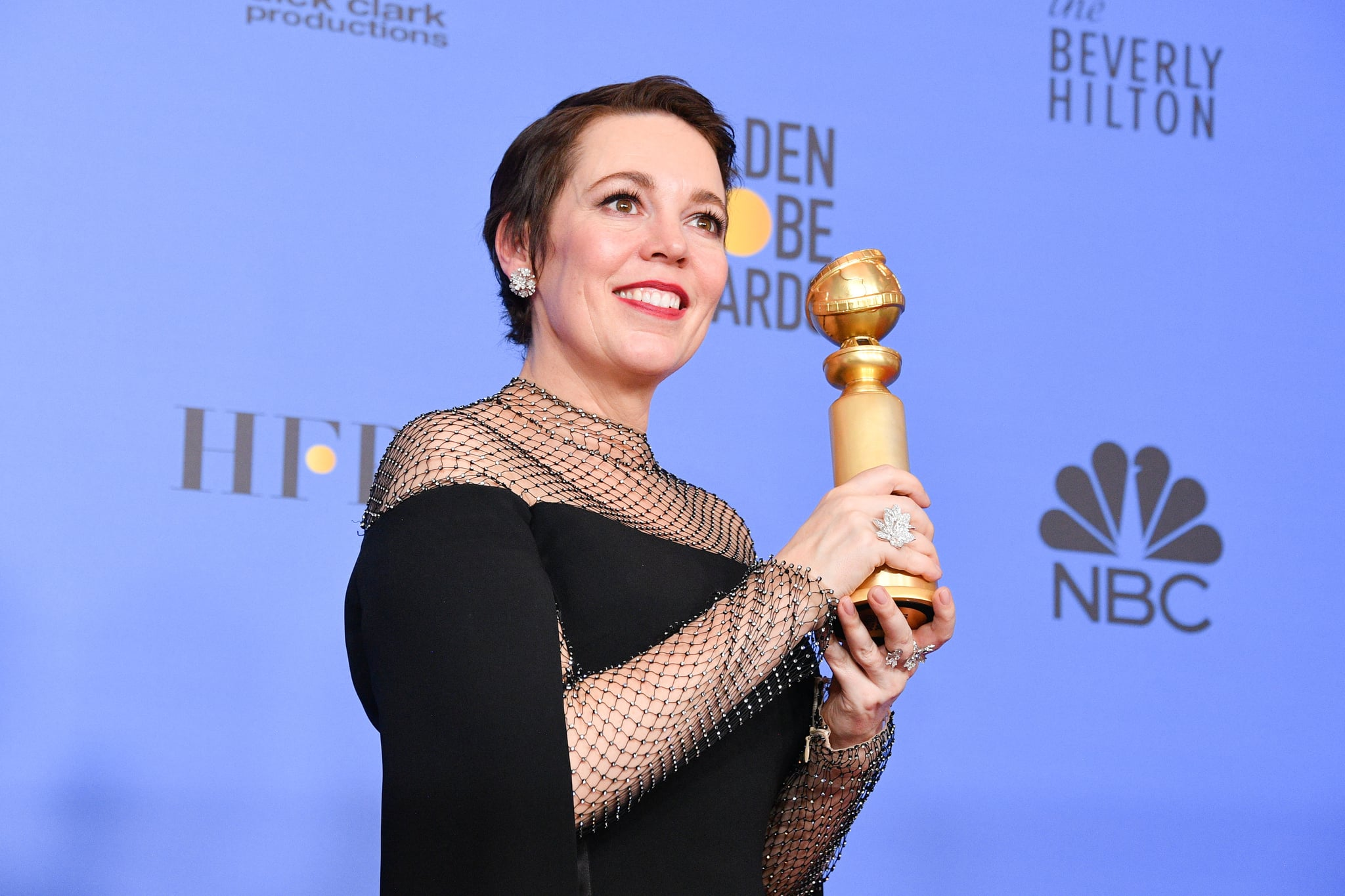 BEVERLY HILLS, CALIFORNIA - JANUARY 06: Best Actress in a Motion Picture Musical or Comedy for 'The Favourite' winner Olivia Colman poses in the press room during the 75th Annual Golden Globe Awards held at The Beverly Hilton Hotel on January 06, 2019 in Beverly Hills, California. (Photo by George Pimentel/WireImage,)
