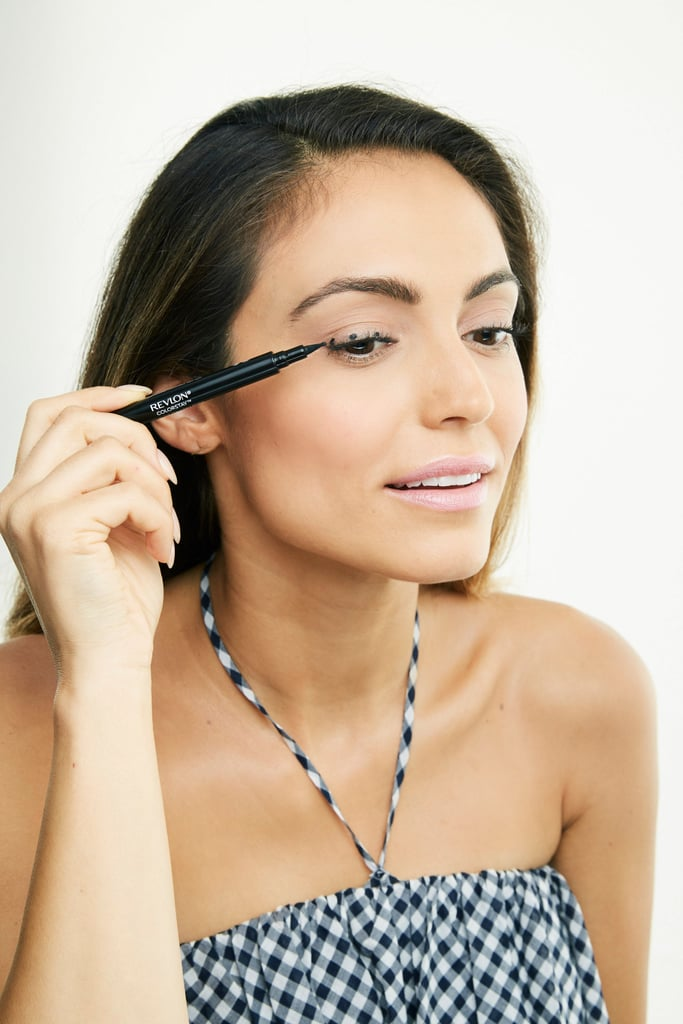 Try a glide-on liquid eye pen with a rounded tip that lets you draw dots and connect them — even a liner novice can use this tool for ease and accuracy. Apply liner to your top lids from the inner corner out by dotting and connecting a line.