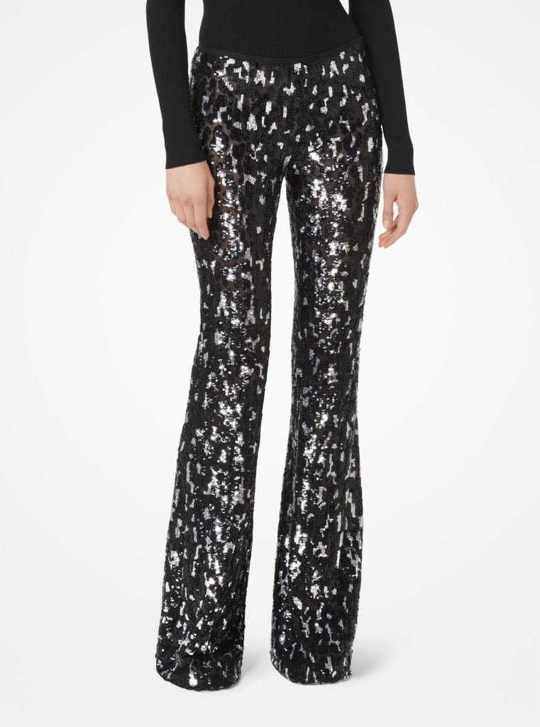 Michael Kors Collection Leopard Sequined Stretch-Tulle Trousers