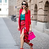 Smart Heels and a Button-Front Blazer Make Your Floral Midi Office-Ready