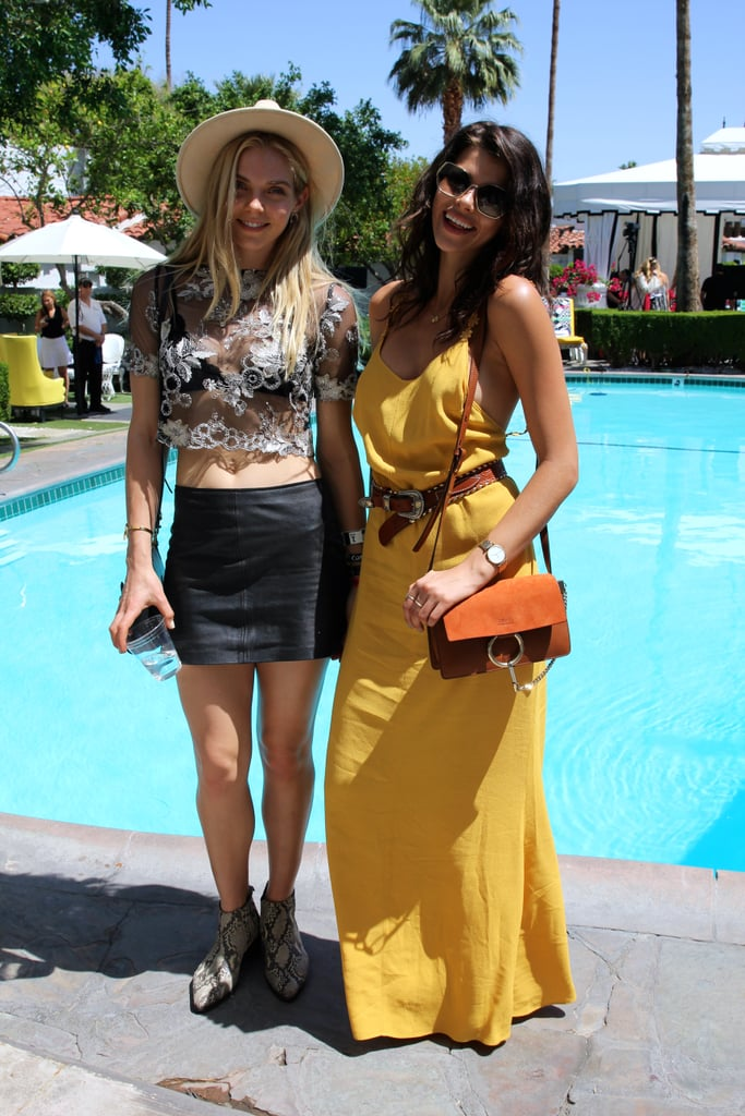 Jordan Murray's vintage top looked all the more casual with a leather miniskirt, while Georgia Fowler's mustard Reformation dress was finished with neutral accessories: a crossbody satchel and an embellished belt.