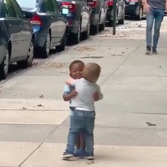 Toddlers See Each Other on the Street and Start Hugging