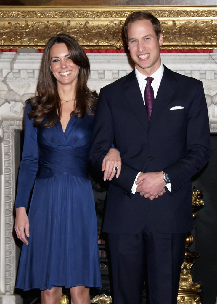 Twenty-nine years later, Kate chose to show off Diana's sapphire with a blue silk jersey dress from Issa.