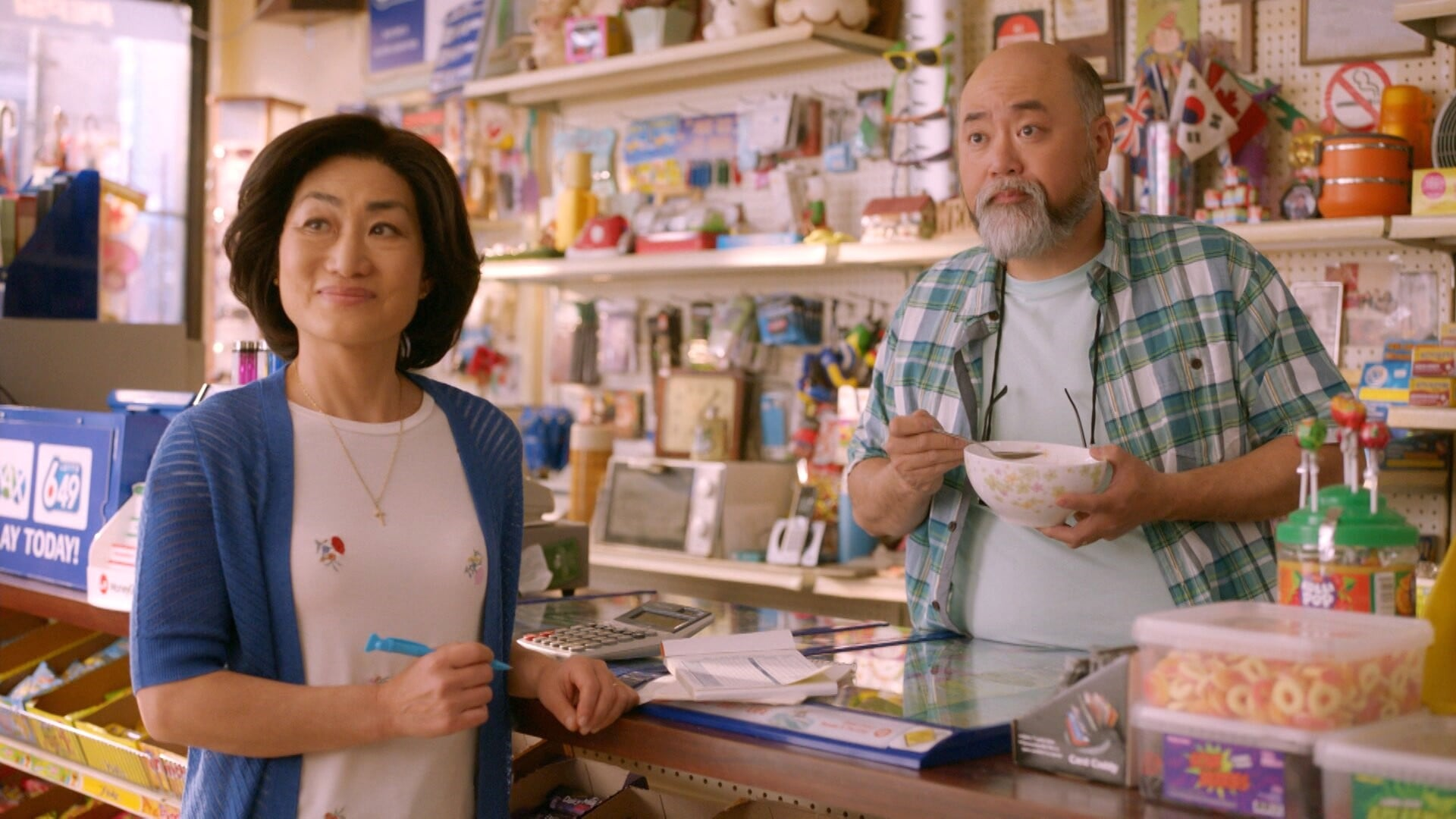 KIM'S CONVENIENCE, from left: Jean Yoon, Paul Sun-Hyung Lee, (Season 3, premiered Jan. 8, 2019). photo: CBC / courtesy Everett Collection