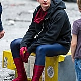 Andrew Garfield took a break from filming on Sunday.