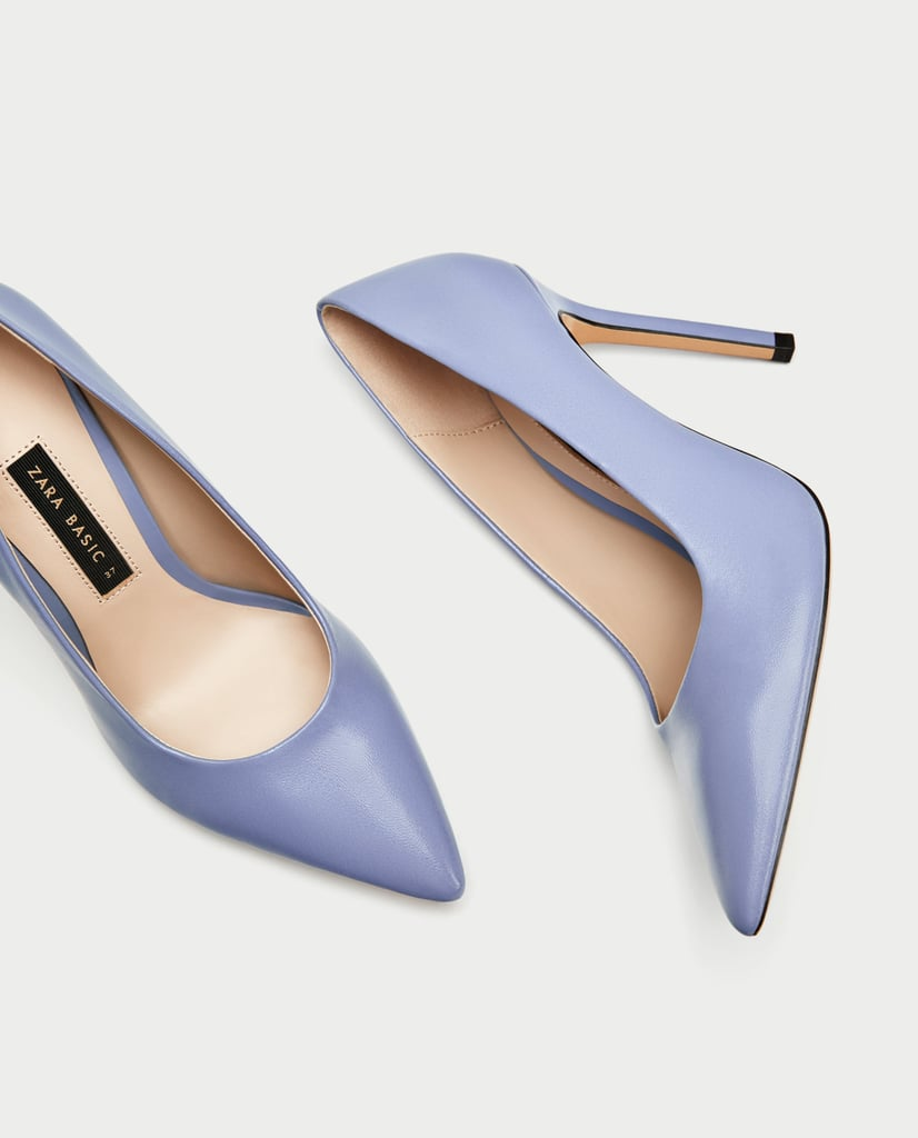 Zara Lilac High Heel Leather Court Shoes