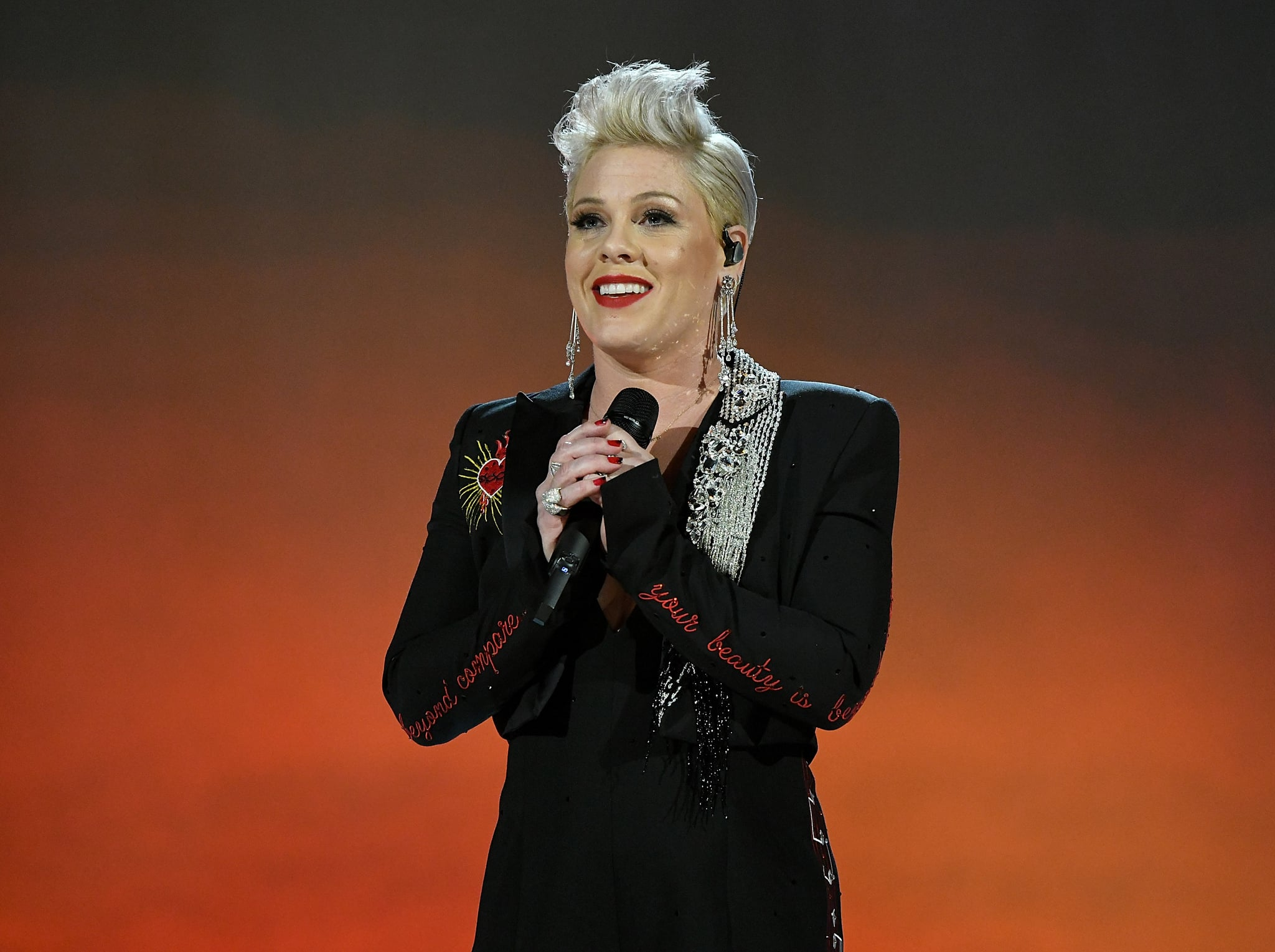 LOS ANGELES, CA - FEBRUARY 08:  P!nk performs onstage at MusiCares Person of the Year honoring Dolly Parton at Los Angeles Convention Center on February 8, 2019 in Los Angeles, California.  (Photo by Michael Kovac/Getty Images for NARAS)