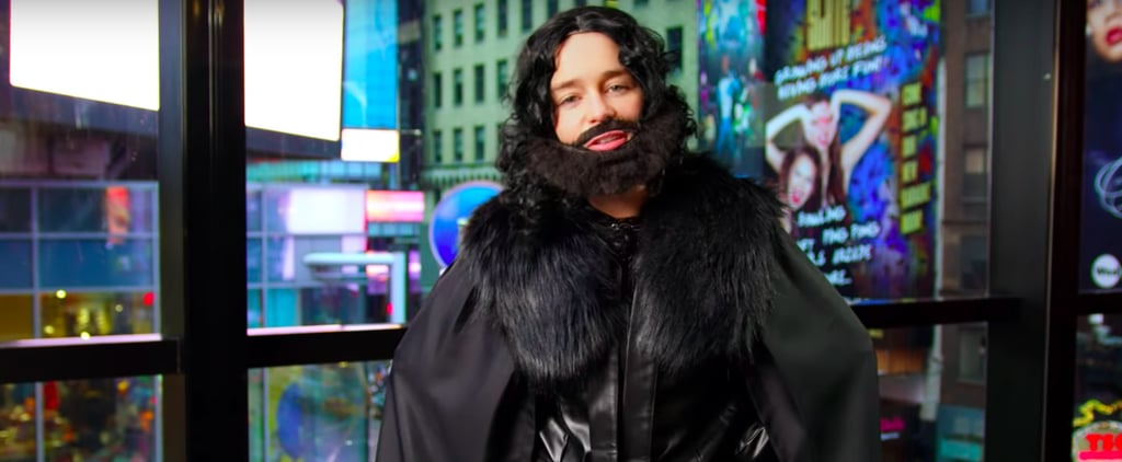 Emilia Clarke Dressed as Jon Snow in Times Square Video