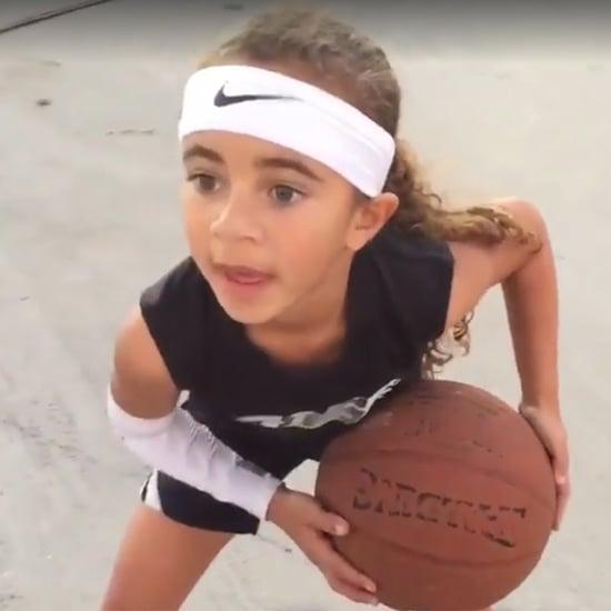 شاهدوا طفلةً بعمر السادسة تتلاعب بكرة السلة كالنجوم المحترفي