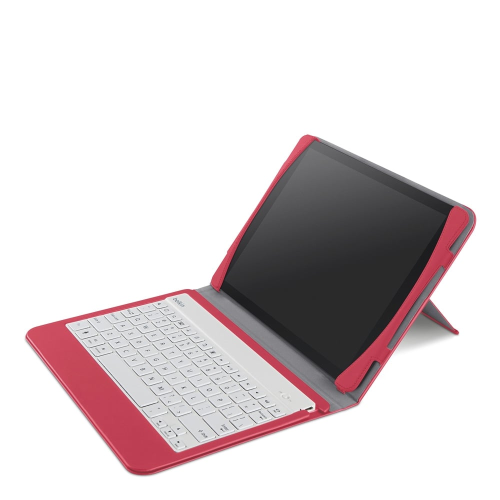 Belkin's Qode Slim Style Keyboard Case for iPad Air ($80) is cover and Bluetooth keyboard in one. White keyboards are available in blue, purple, or pink cases, while the black chiclet keyboards are for cases with black or red exteriors.