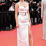 Selena Gomez Louis Vuitton Crop Top and Skirt at Cannes 2019