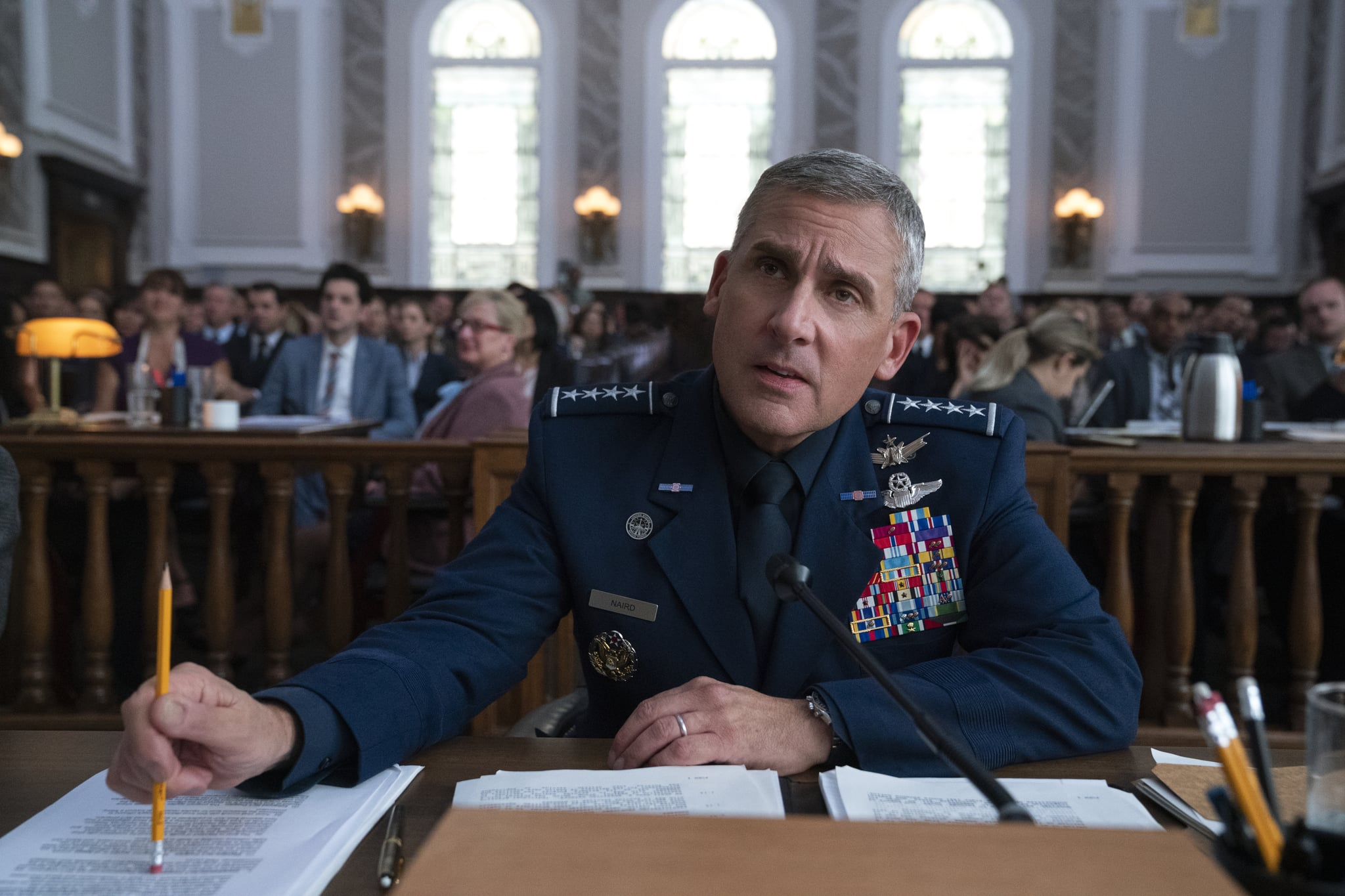 SPACE FORCE (L TO R) STEVE CARELL as GENERAL MARK R. NAIRD in episode 103 of SPACE FORCE Cr. AARON EPSTEIN/NETFLIX  2020