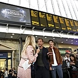 Jude Law and Eddie Redmayne at Kings Cross Station 2018